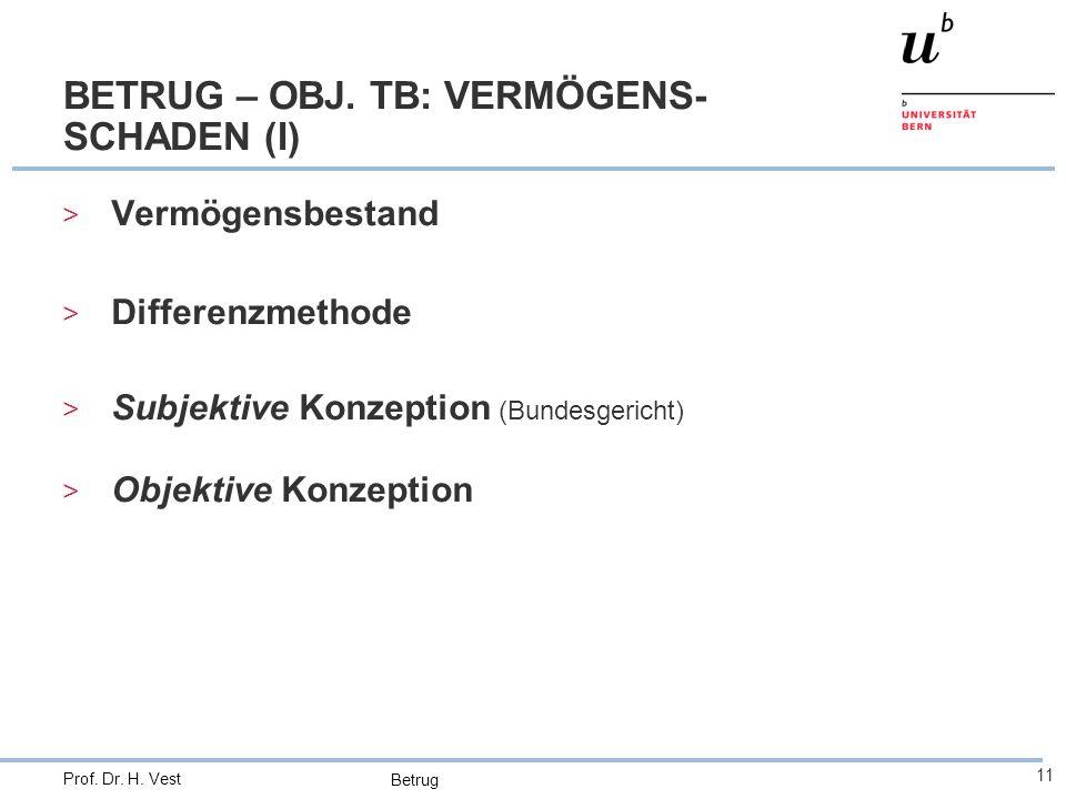 BETRUG – OBJ. TB: VERMÖGENS-SCHADEN (I)