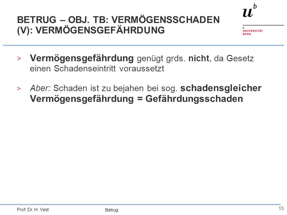 BETRUG – OBJ. TB: VERMÖGENSSCHADEN (V): VERMÖGENSGEFÄHRDUNG