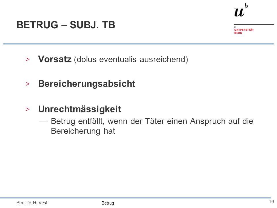 BETRUG – SUBJ. TB Vorsatz (dolus eventualis ausreichend)