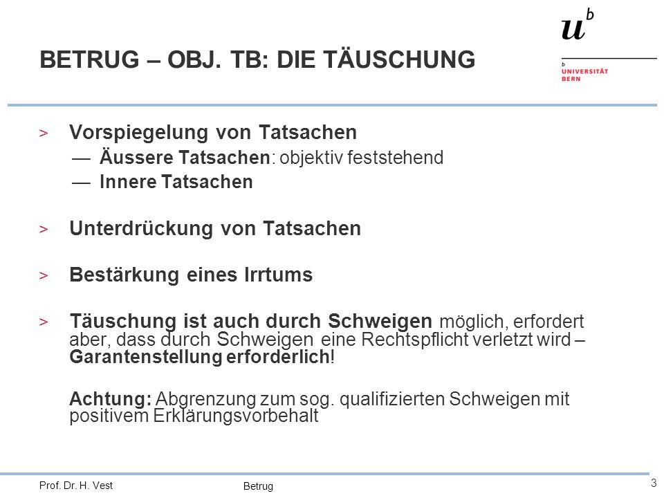 BETRUG – OBJ. TB: DIE TÄUSCHUNG