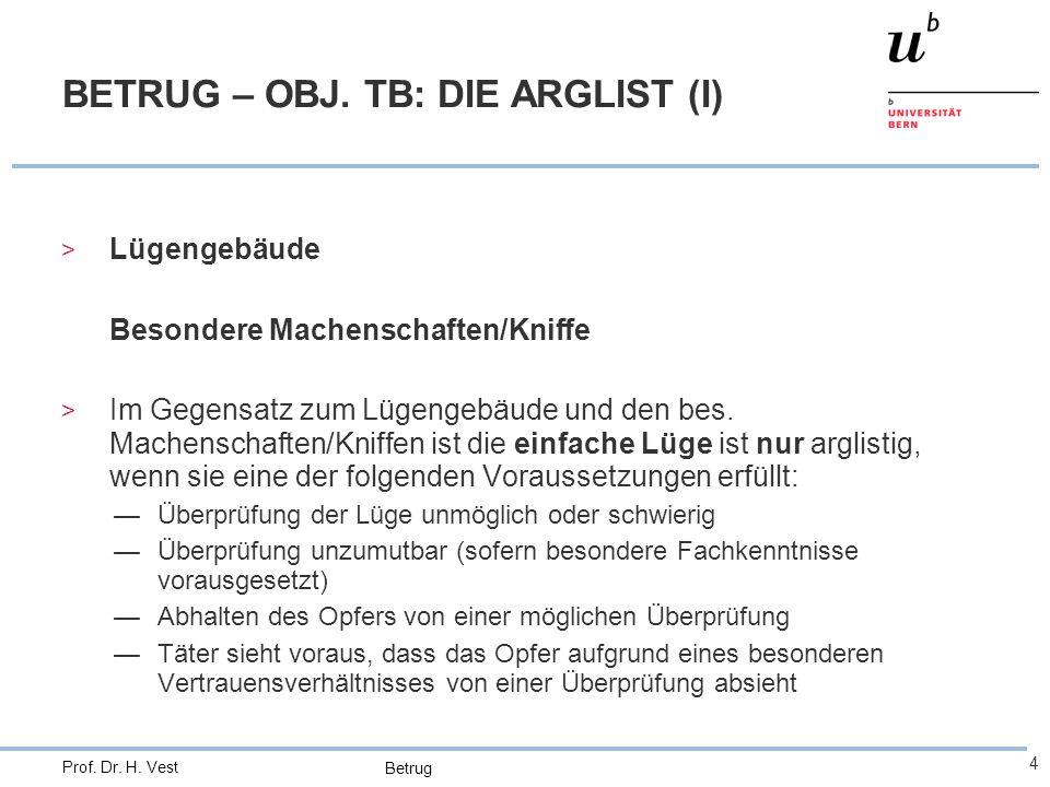 BETRUG – OBJ. TB: DIE ARGLIST (I)