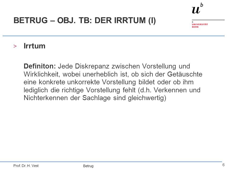 BETRUG – OBJ. TB: DER IRRTUM (I)