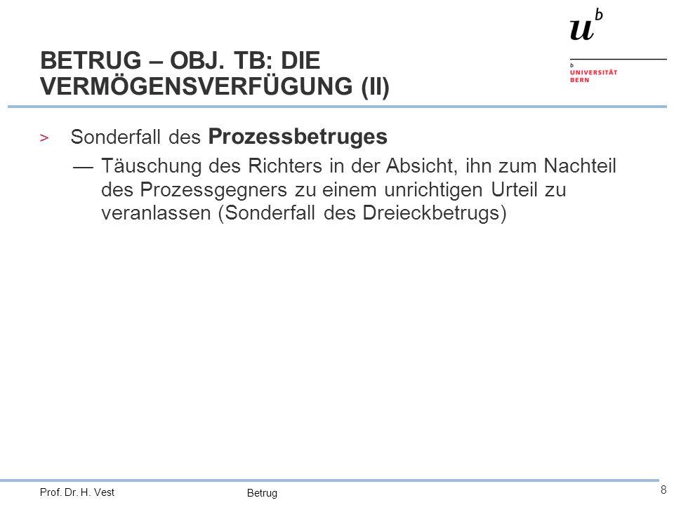 BETRUG – OBJ. TB: DIE VERMÖGENSVERFÜGUNG (II)