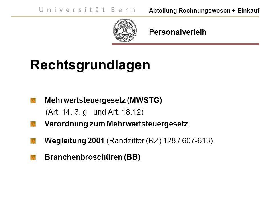 Rechtsgrundlagen Personalverleih Mehrwertsteuergesetz (MWSTG)