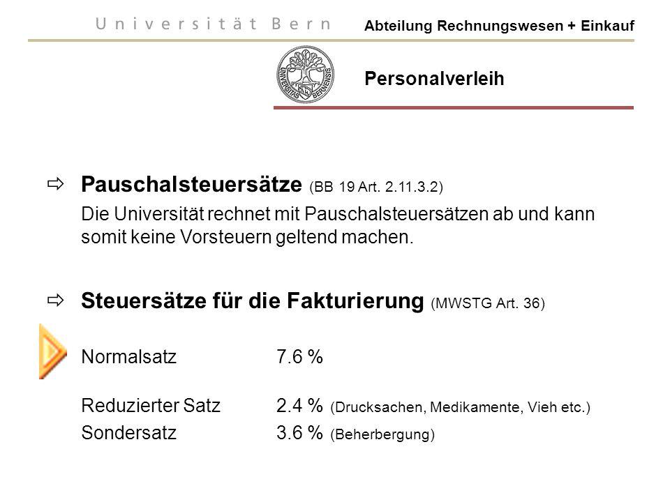 Pauschalsteuersätze (BB 19 Art. 2.11.3.2)
