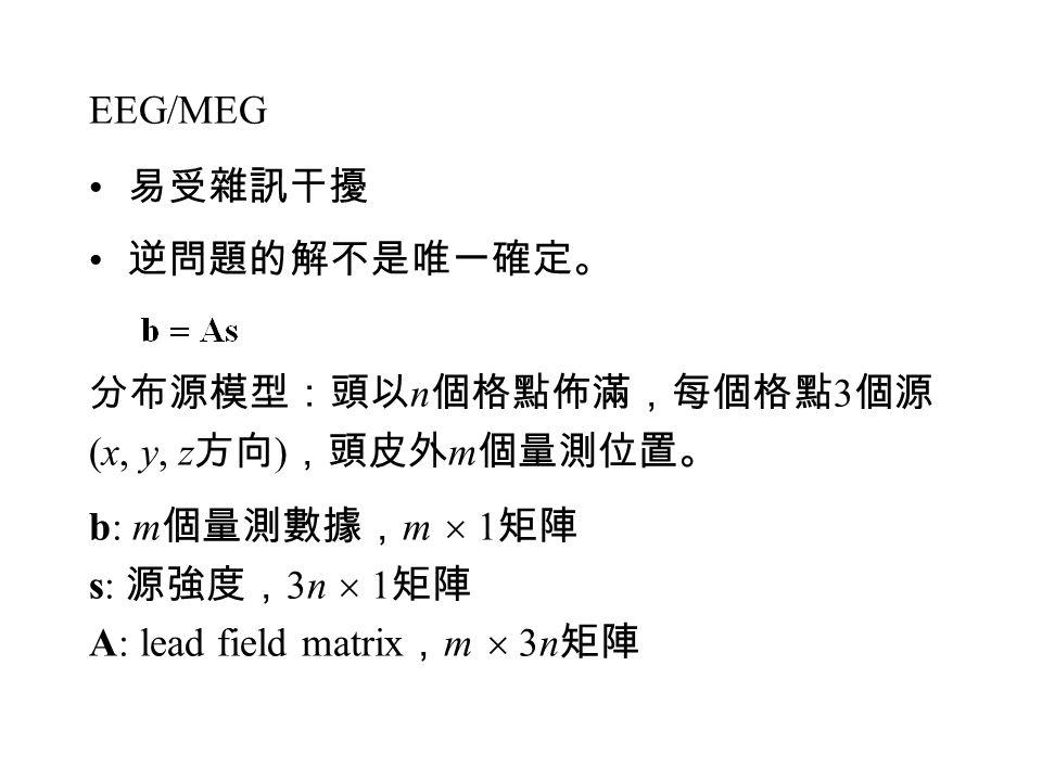 EEG/MEG 易受雜訊干擾. 逆問題的解不是唯一確定。 分布源模型:頭以n個格點佈滿,每個格點3個源. (x, y, z方向),頭皮外m個量測位置。 b: m個量測數據,m  1矩陣. s: 源強度,3n  1矩陣.