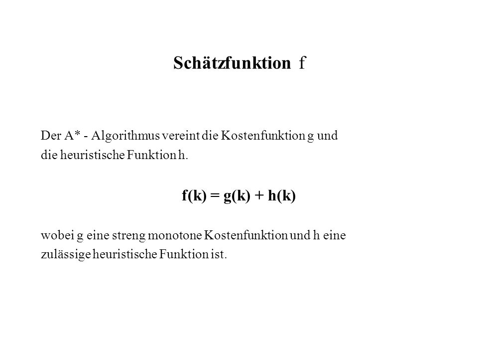 Schätzfunktion f f(k) = g(k) + h(k)