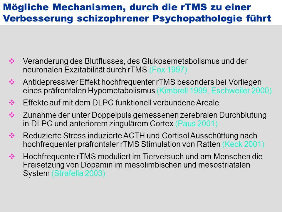 Mögliche Mechanismen, durch die rTMS zu einer Verbesserung schizophrener Psychopathologie führt