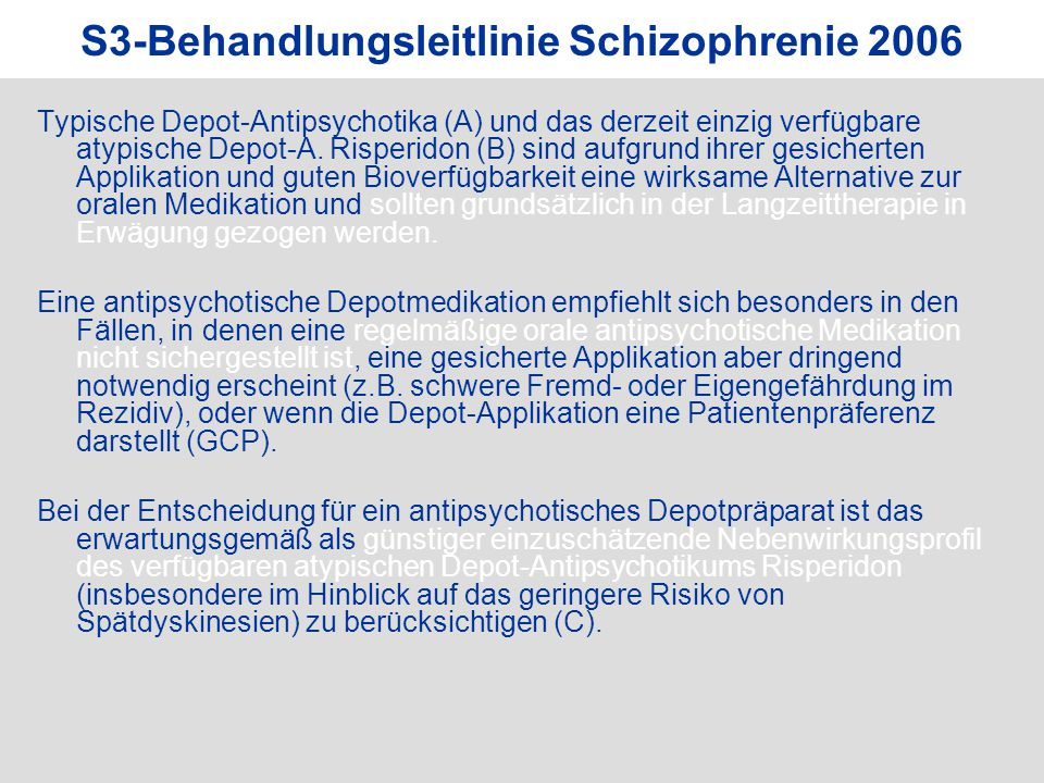 S3-Behandlungsleitlinie Schizophrenie 2006