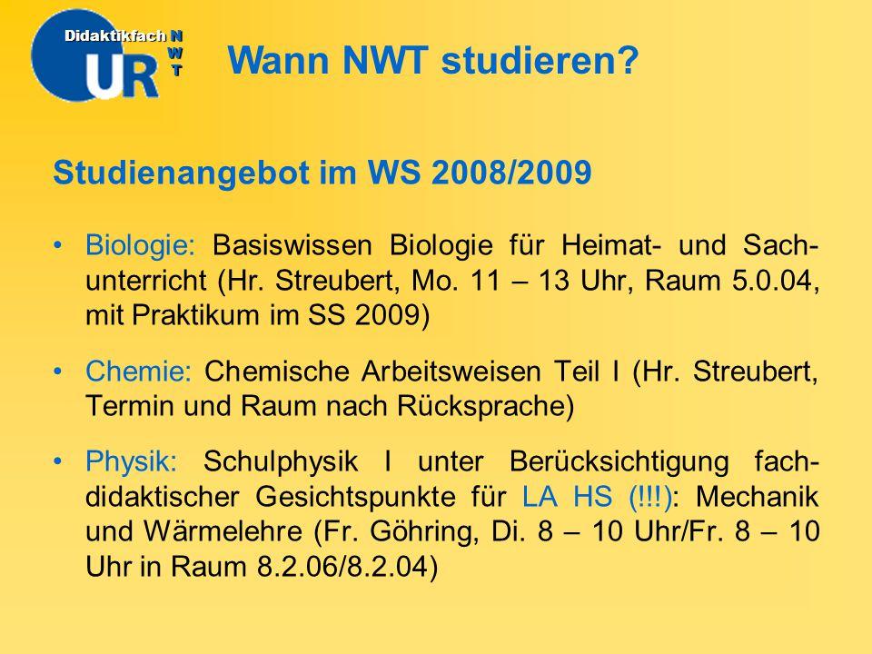 Wann NWT studieren Studienangebot im WS 2008/2009