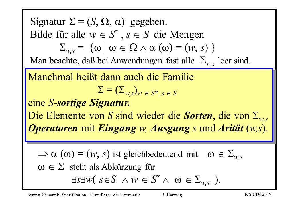 Signatur  = (S, , ) gegeben.