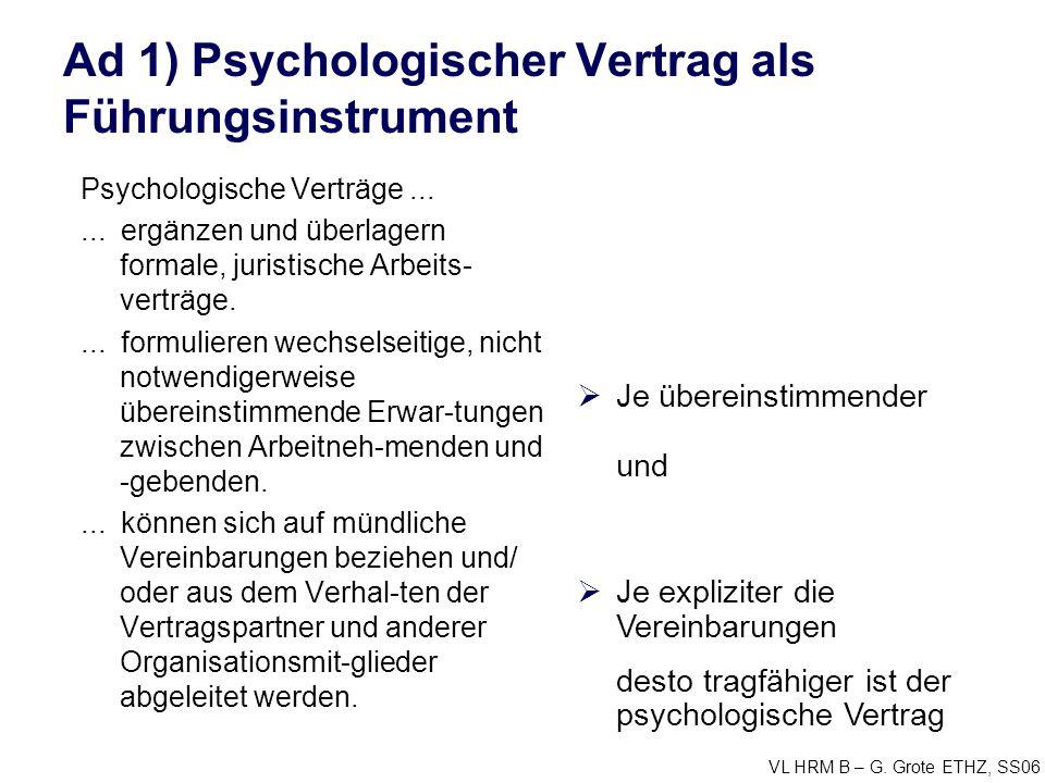 Ad 1) Psychologischer Vertrag als Führungsinstrument
