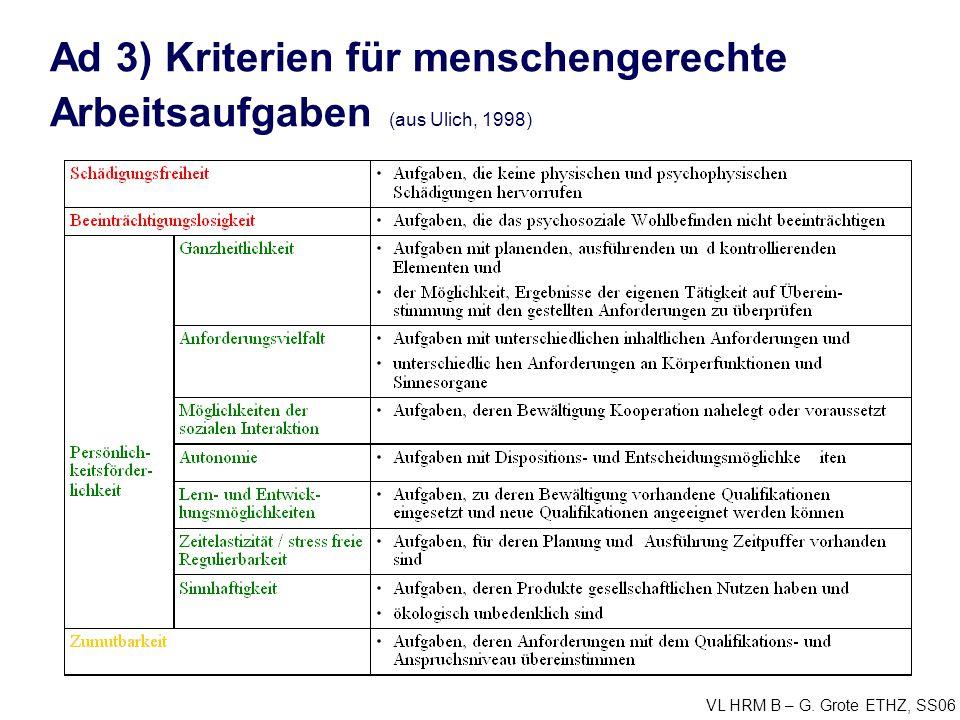 Ad 3) Kriterien für menschengerechte Arbeitsaufgaben (aus Ulich, 1998)