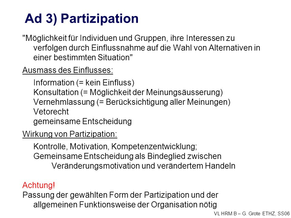 Ad 3) Partizipation