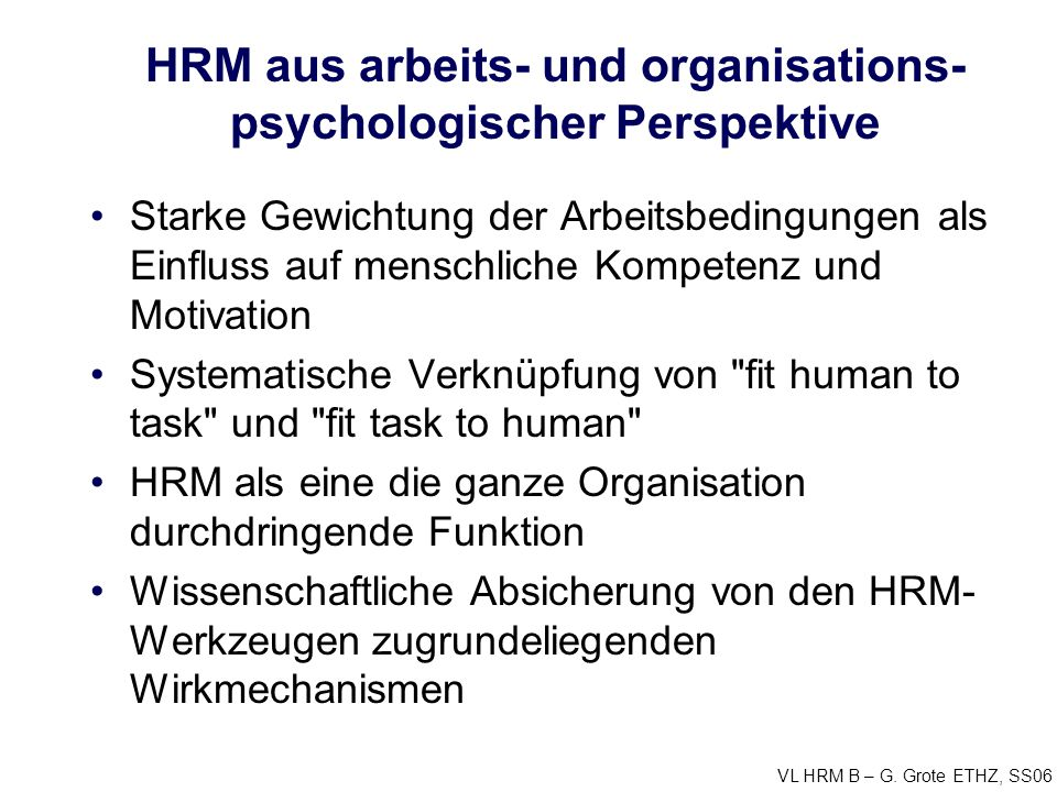 HRM aus arbeits- und organisations-psychologischer Perspektive