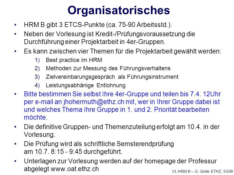 Organisatorisches HRM B gibt 3 ETCS-Punkte (ca. 75-90 Arbeitsstd.).