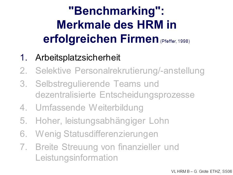 Benchmarking : Merkmale des HRM in erfolgreichen Firmen (Pfeffer, 1998)