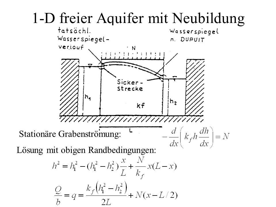 1-D freier Aquifer mit Neubildung