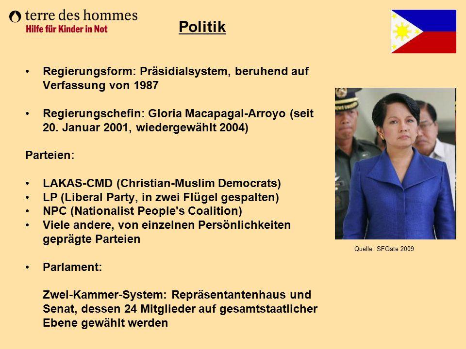Politik Regierungsform: Präsidialsystem, beruhend auf Verfassung von 1987.