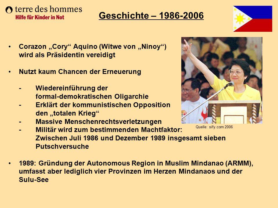 "Geschichte – 1986-2006 Corazon ""Cory Aquino (Witwe von ""Ninoy )"
