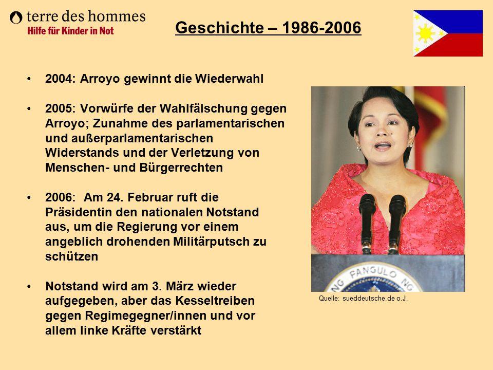 Geschichte – 1986-2006 2004: Arroyo gewinnt die Wiederwahl