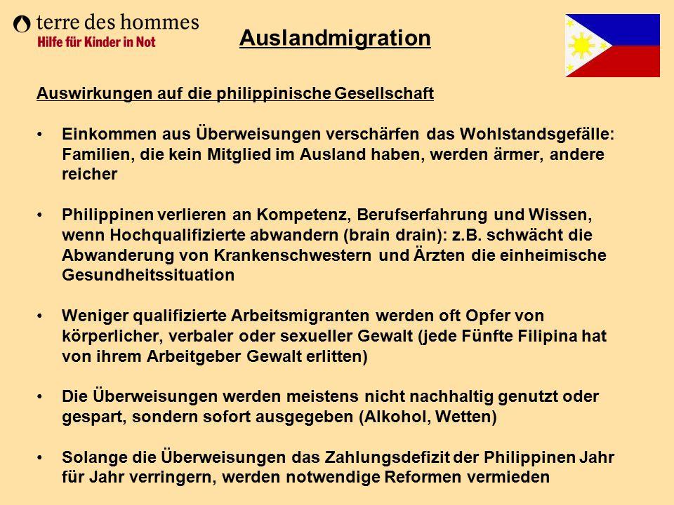 Auslandmigration Auswirkungen auf die philippinische Gesellschaft