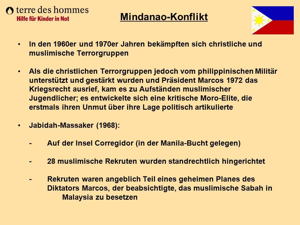 Mindanao-Konflikt In den 1960er und 1970er Jahren bekämpften sich christliche und muslimische Terrorgruppen.