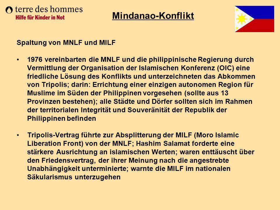 Mindanao-Konflikt Spaltung von MNLF und MILF