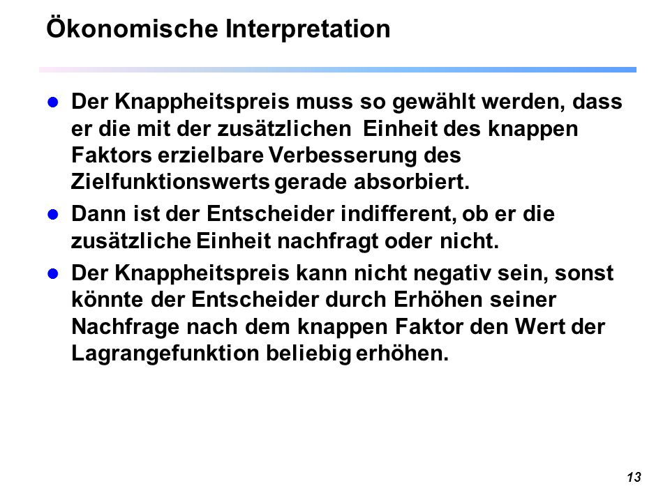 Ökonomische Interpretation