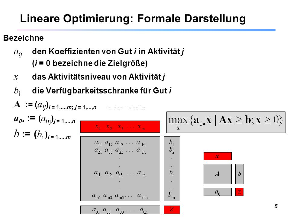 Lineare Optimierung: Formale Darstellung