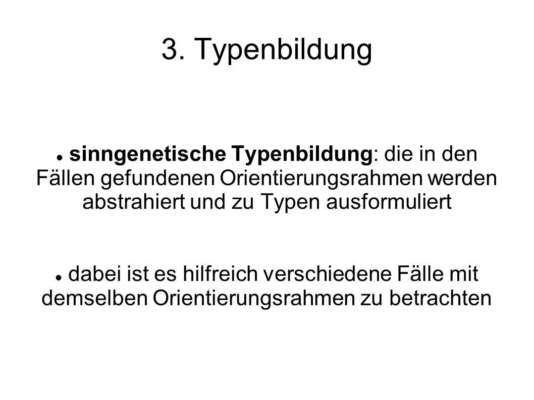 3. Typenbildung sinngenetische Typenbildung: die in den Fällen gefundenen Orientierungsrahmen werden abstrahiert und zu Typen ausformuliert.
