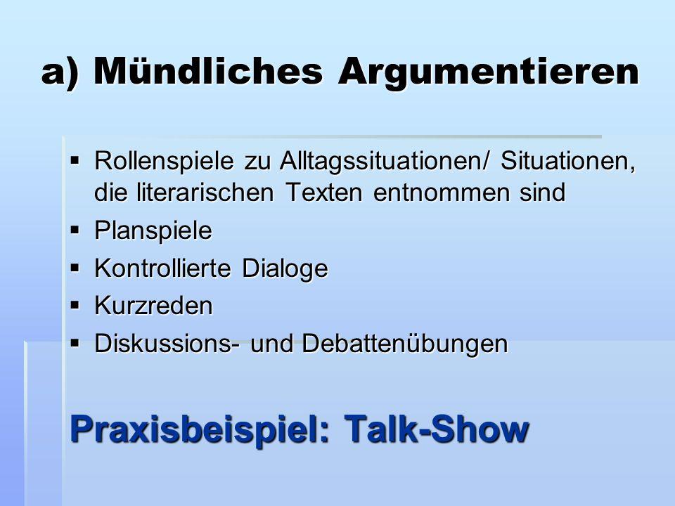 a) Mündliches Argumentieren