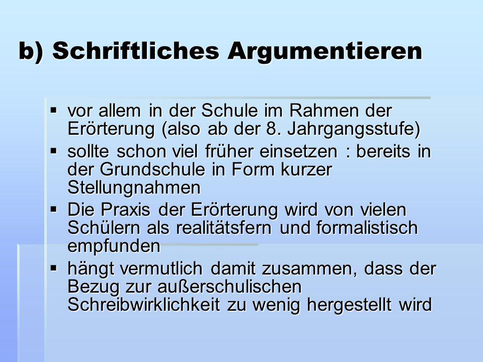 b) Schriftliches Argumentieren