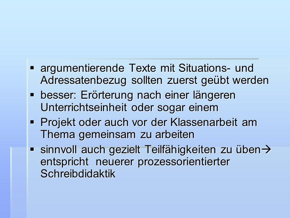 argumentierende Texte mit Situations- und Adressatenbezug sollten zuerst geübt werden