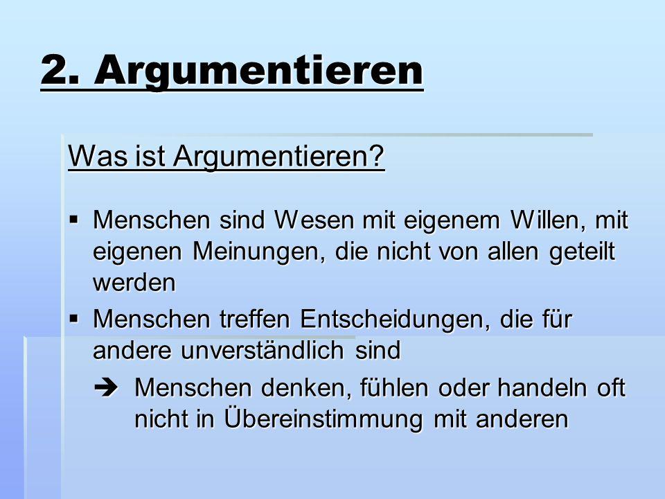 2. Argumentieren Was ist Argumentieren