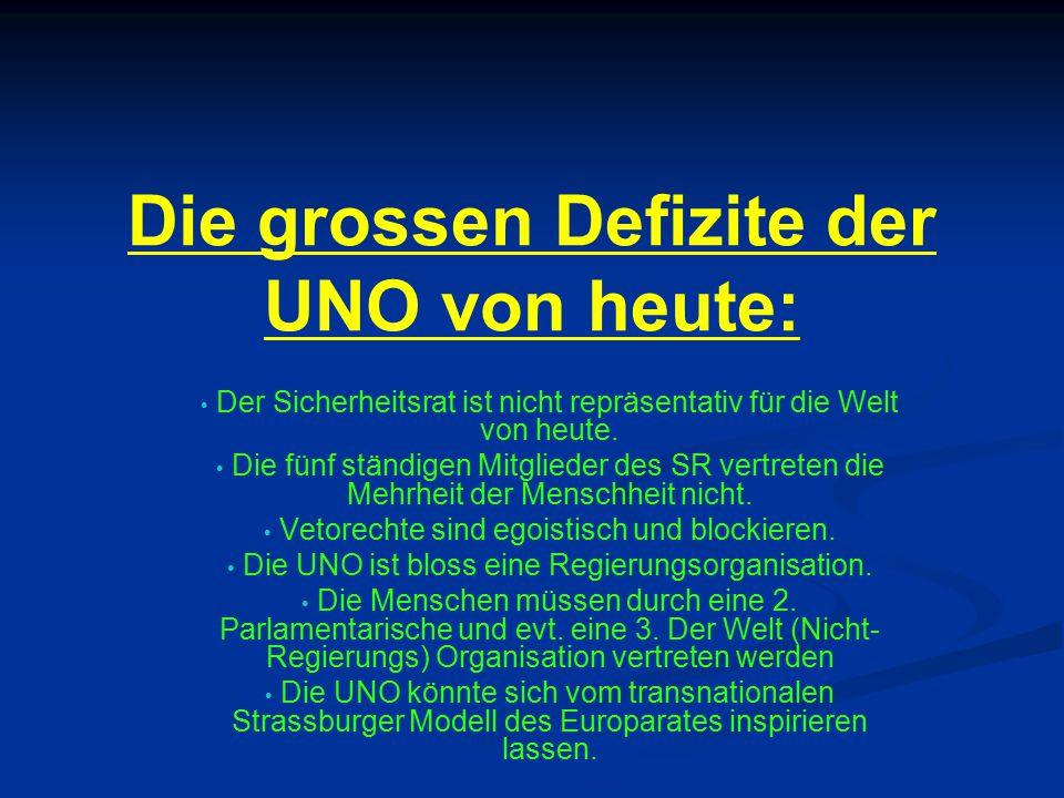 Die grossen Defizite der UNO von heute: