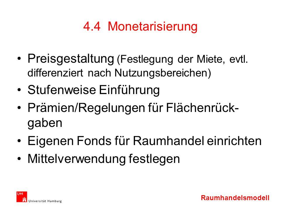 4.4 Monetarisierung Preisgestaltung (Festlegung der Miete, evtl. differenziert nach Nutzungsbereichen)