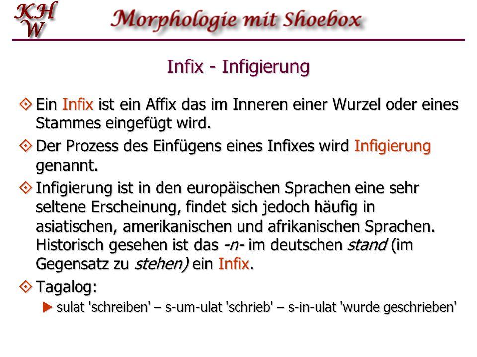 Infix - Infigierung Ein Infix ist ein Affix das im Inneren einer Wurzel oder eines Stammes eingefügt wird.