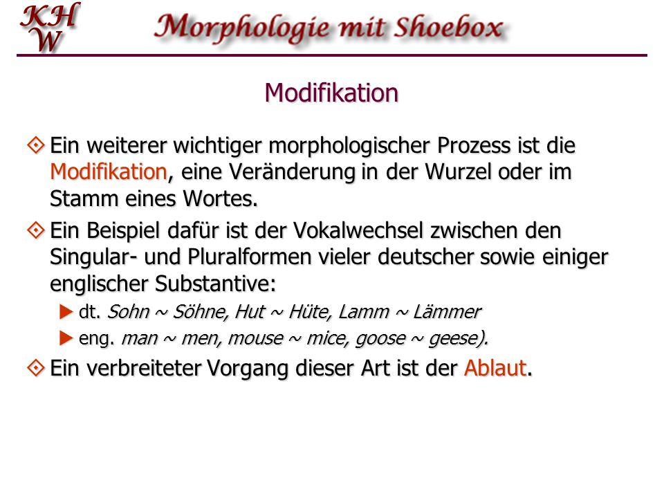 Modifikation Ein weiterer wichtiger morphologischer Prozess ist die Modifikation, eine Veränderung in der Wurzel oder im Stamm eines Wortes.