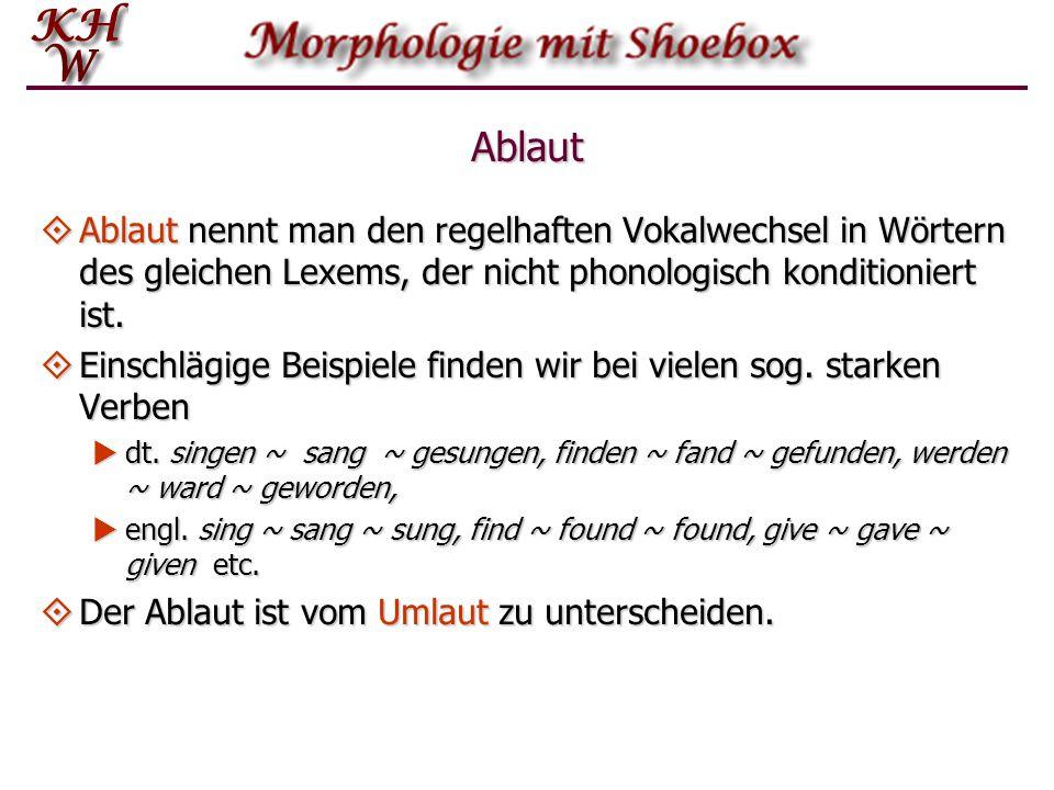 Ablaut Ablaut nennt man den regelhaften Vokalwechsel in Wörtern des gleichen Lexems, der nicht phonologisch konditioniert ist.