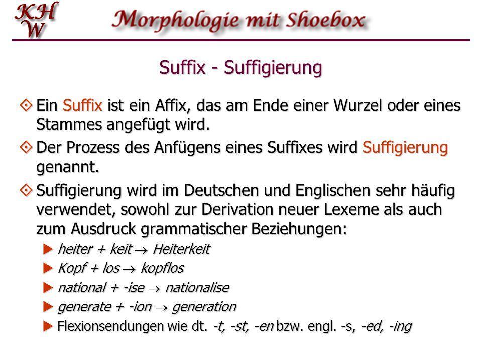 Suffix - Suffigierung Ein Suffix ist ein Affix, das am Ende einer Wurzel oder eines Stammes angefügt wird.