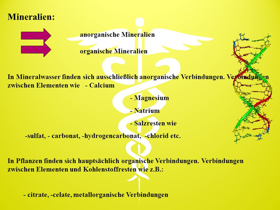 anorganische Mineralien organische Mineralien