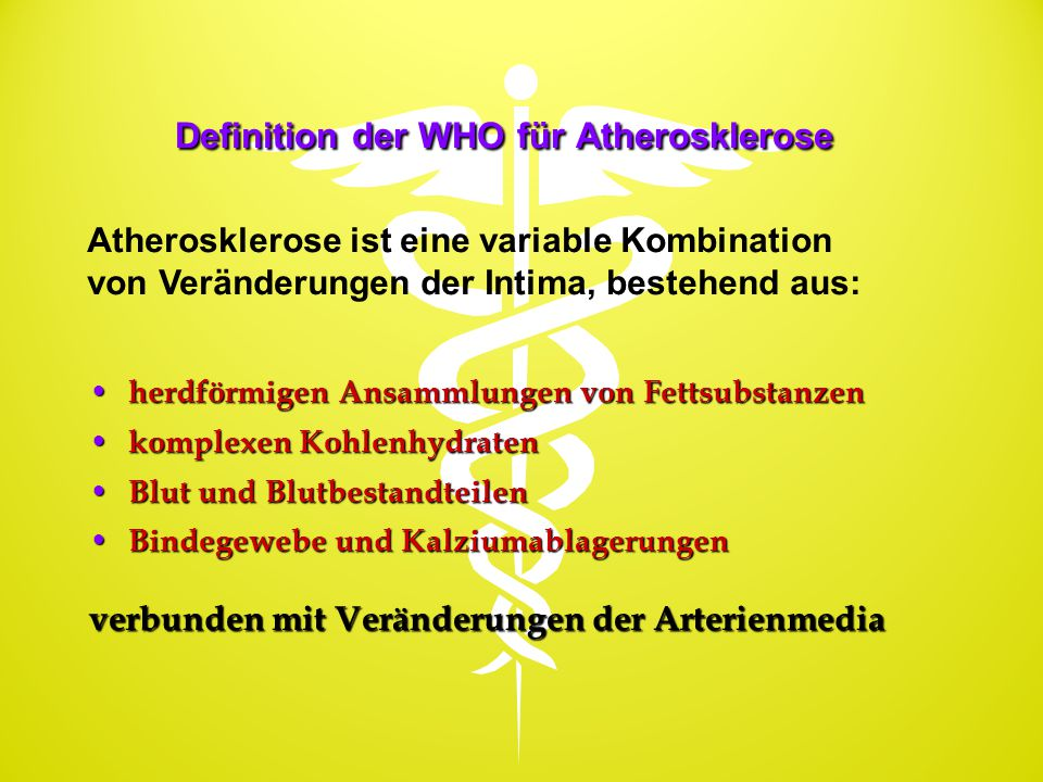 Definition der WHO für Atherosklerose