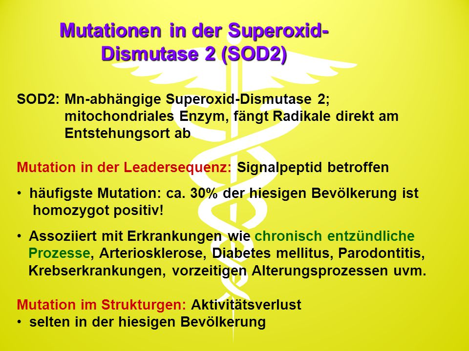 Mutationen in der Superoxid-Dismutase 2 (SOD2)
