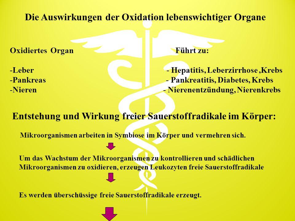 Die Auswirkungen der Oxidation lebenswichtiger Organe