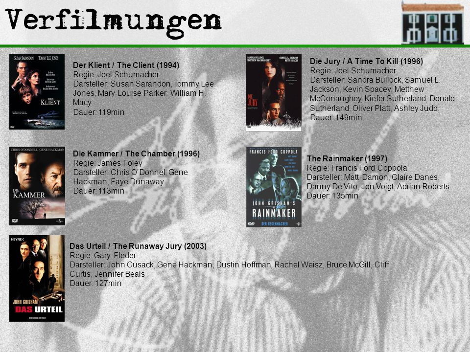 Verfilmungen Die Jury / A Time To Kill (1996) Regie: Joel Schumacher