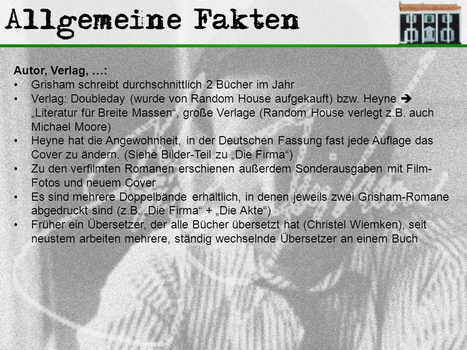Allgemeine Fakten Autor, Verlag, …: