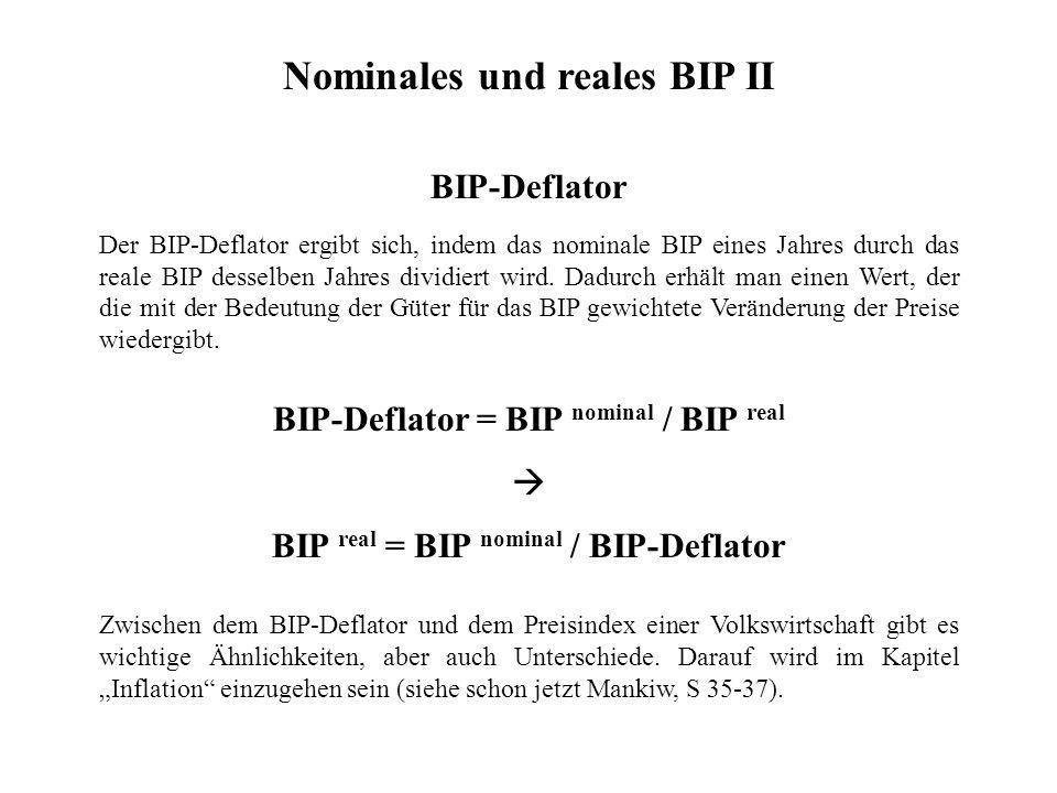 Nominales und reales BIP II