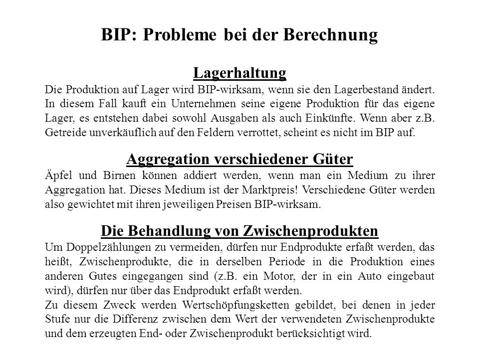 BIP: Probleme bei der Berechnung