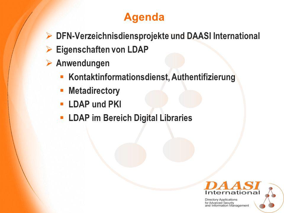 Agenda DFN-Verzeichnisdiensprojekte und DAASI International